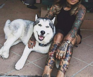 dog, tattoo, and inkgirl image