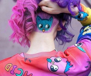 hair, purple, and cat image
