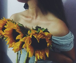flowers, collarbone, and sunflower image