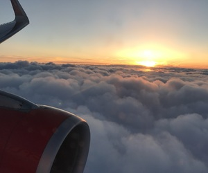 airplane, clouds, and fly image