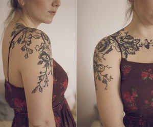 flowers, tattoo, and nature image