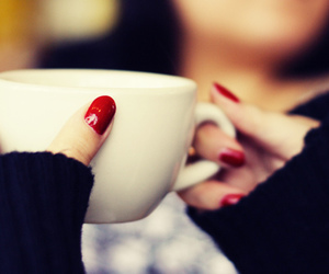 nails, red, and coffee image