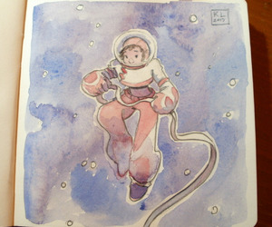 art, astronaut, and sketch image