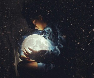 dreams, girl, and moon image