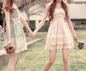 dress, friends, and flowers image
