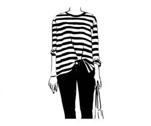 black and white, cartoon, and striped top image