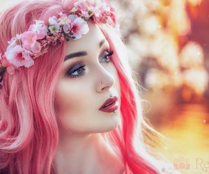 pink hair, flowers, and hair image
