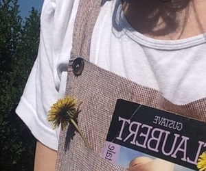 book, flower, and girl image