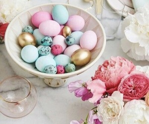 easter, flowers, and easter eggs image