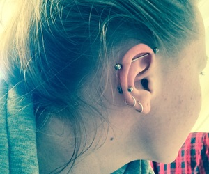 ear, industrial, and Piercings image