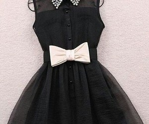 black, dress, and bow image