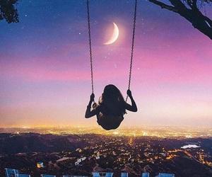 girl, moon, and hollywood image