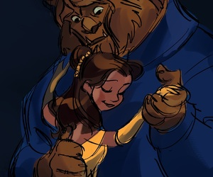 beauty and the beast, disney, and art image