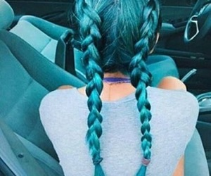 blue, hair, and car image