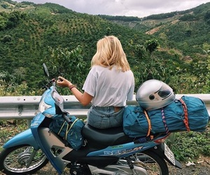 girl, blonde, and motorcycle image