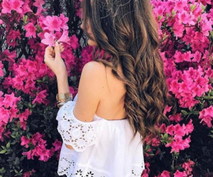 brunette, flowers, and model image
