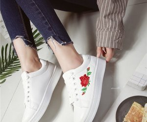 embroidery, floral, and sneakers image