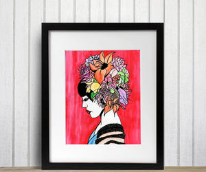art print, bouquet, and flower crown image