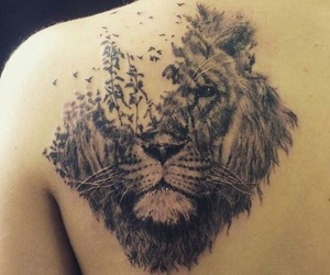tattoo, lion, and animal image