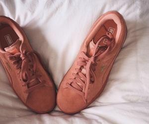 pink shoes, puma, and puma suede image