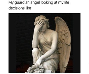 angel, facepalm, and decisions image
