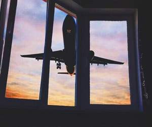 airplane, sky, and beautiful image