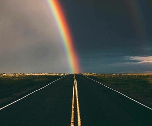 color, rainbow, and sky image