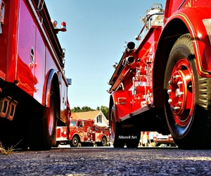 red, vintage, and fire department image