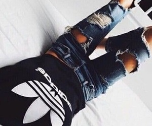 adidas, body, and ripped jeans image