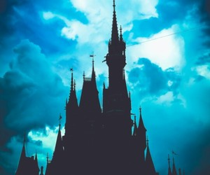 castle, blue, and disney image