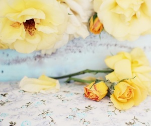 blue, flowers, and home image