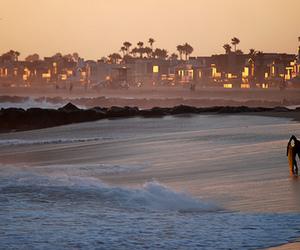 beach, lights, and sunset image