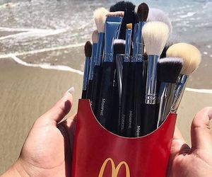 makeup, Brushes, and beach image