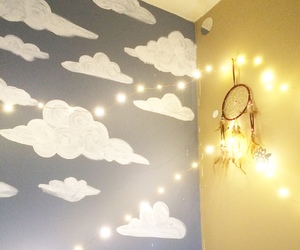 room, clouds, and lights image