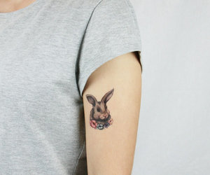 bunny, rabbit, and tattoo image