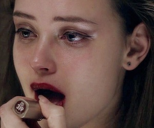 crying, woman, and 13 reasons why image