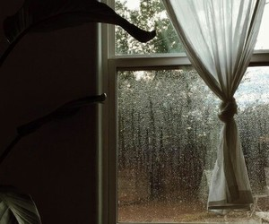home, rain, and window image