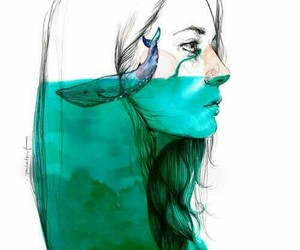 girl, art, and whale image