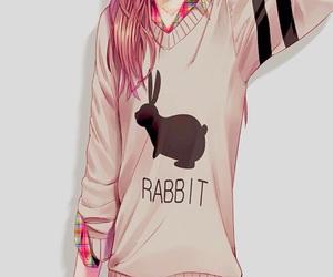 anime, rabbit, and anime girl image