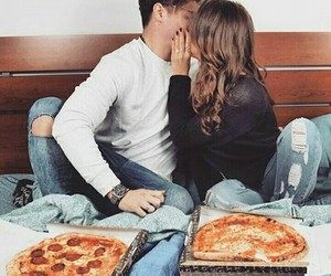 couple, pizza, and kiss image