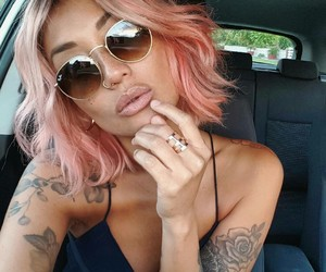 nose piercing, sunglasses, and women image