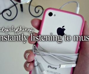 music, iphone, and pink image