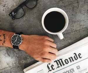 background, newspaper, and coffee image