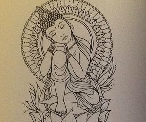 Buddha, drawing, and tattoo image