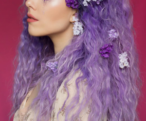flowers, purple hair, and hair image