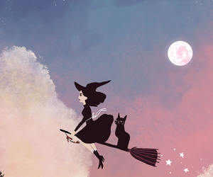 witch, cat, and wallpaper image