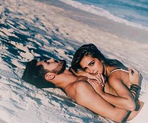 beach, sand, and love image