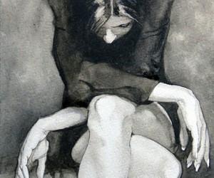 art, grey, and sadness image