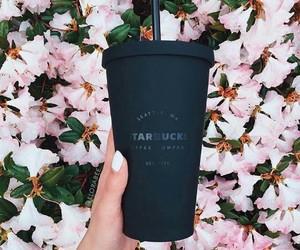 starbucks, flowers, and black image