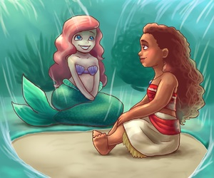 ariel, water, and moana image